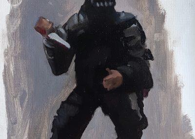 Esmal con cuchillo